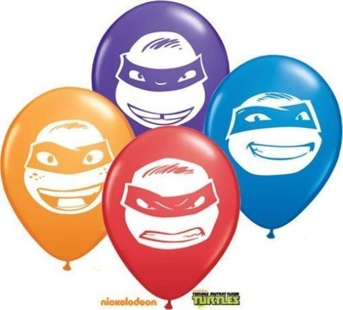 "Image of Tennage Mutant Ninja Turtles Faces 5"" Qualatex Latex Balloons x 10"