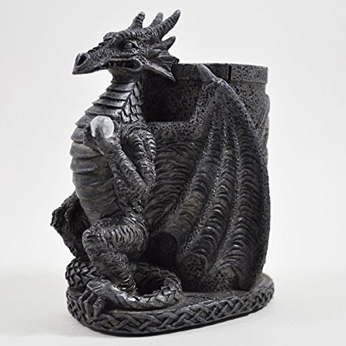 Dragon Pen Pot – schwarz Kunstharz. Gothic Schmuck Dark Skulptur H - Dark Metal Dragon
