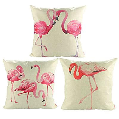 "Luxbon Set of 3Pcs Tropical Design Pink Flamingo Decorative Cushion Cover Durable Cotton Linen Throw Pillow Case Garden Holiday Outdoor Decors 18""x18"" 45x45cm - low-cost UK light shop."