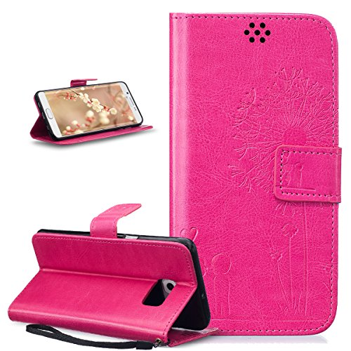 ikasus Coque Galaxy S6 Edge Plus Etui Gaufrage Amour amants pissenlit Housse Cuir PU Housse Etui Coque Portefeuille Protection supporter Flip Case Etui Housse Coque pour Galaxy S6 Edge Plus,Rose rouge
