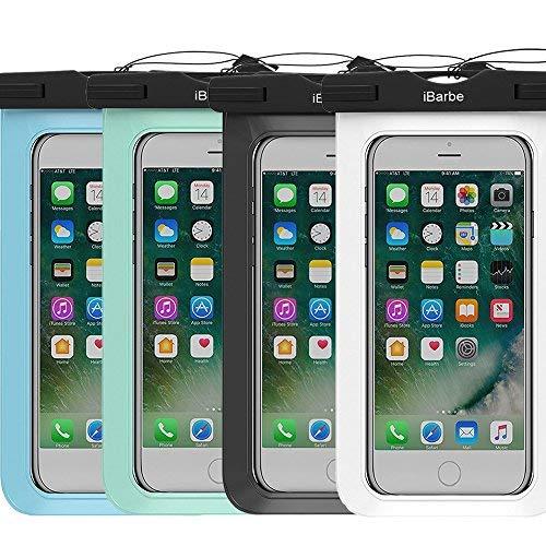 2Stück Wasserdichte Schutzhülle, ibarbe Universal Herrenohrringe Handy TPU Dry Bag für iPhone 77Plus 6S 6/6S Plus 5/S/SE 5C Samsung Galaxy Note 5S8S8Plus S 8S7S6Edge S5etc. zu 14,5cm, schwarz + blau