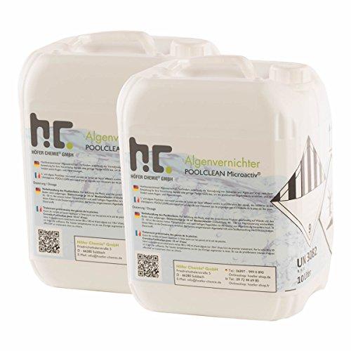 Höfer Chemie 2x10 L Pool Algenvernichter - Anti Algenmittel für Schwimmbad & Pool - schnelle Wirkung bei Algen