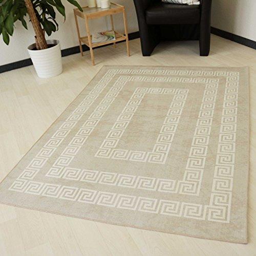 waschbarer und Rutschfester Teppich in Beige für Flur Bad und Küche mit Versace Design pflegeleicht und strapazierfähig mit Öko-Tex (80cm x 150cm)