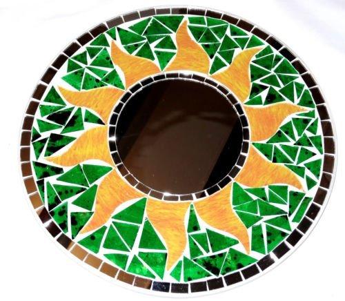 Mosaico-Espejo-sol-hielo-30-cm-Verde-de-madera-con-mosaico-Craft-sol-mosaico-Espejo