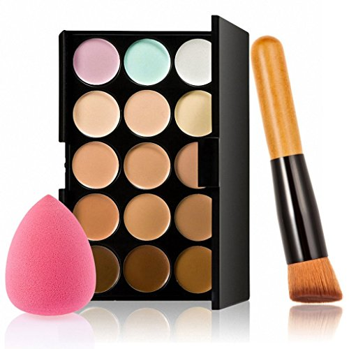 Generic 15 Colors Contour Concealer Palette +1 Cream Powder Makeup Brush +1Puff