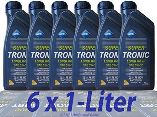6x 1 L LITER ARAL SUPERTRONIC LONGLIFE III 3 5W-30 MOTOR-ÖL MOTOREN-ÖL 32018440