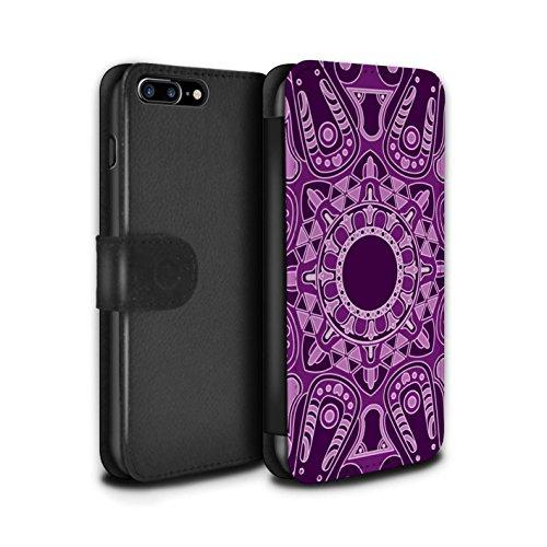 Stuff4 Coque/Etui/Housse Cuir PU Case/Cover pour Apple iPhone 8 Plus / Floral/Sépia Design / Art Mandala Collection Octogone/Violet