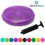 Disco vestibular »PumpUp« bomba incluida / Disco de equilibrio, disco con nudillos, cojín hinchable / Disco de equilibro para entrenamiento, rehabilitación, ejercicios de espalda / Disco de equilibrio, 33 cm / Disponible en muchos colores / azafrán púrpura