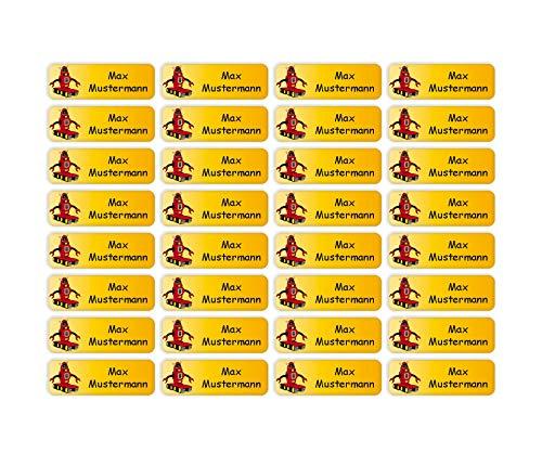 Sunnywall® Namensaufkleber Namen Sticker Aufkleber Sticker 4,8x1,6cm | 60 Stück für Kinder Schule und Kindergarten 38 Hintergründe zur Auswahl (35 Roboter)