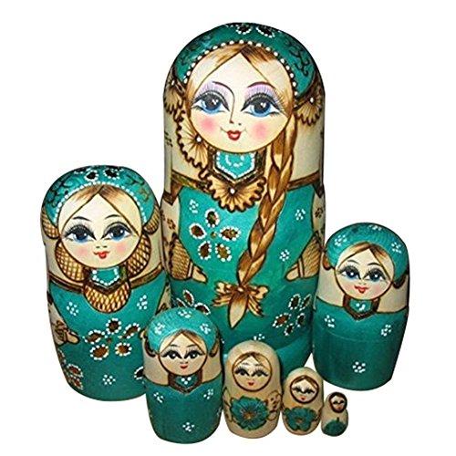 Poupees russes - TOOGOO(R)7pcs poupees russes de nidification tressent en bois pour fille poupees russes traditionnelle qui souhaitent cadeau de poupees livraison aleatoires 4894560252155
