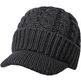 Kuyou Unisex Strickmütze Beanie Cap Winter Kappe Mütze mit Schirm, Dunkelgrau, Einheitsgröße