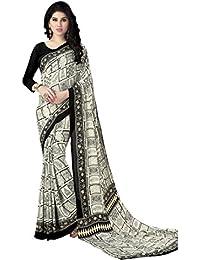 Varayu Crepe Saree (174Sj537_Black And White)