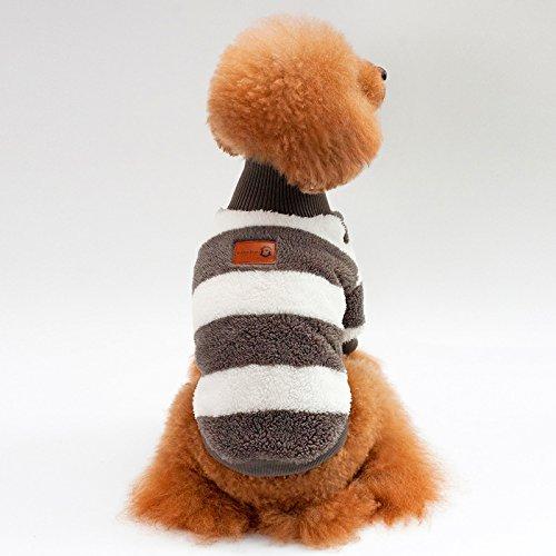 (CWYPWDY Pet Kleidung Herbst und Winter warme korallenrote Fleece gestreiften warmen Hundemantel für kleine und mittlere Hunde Haustier Custome)