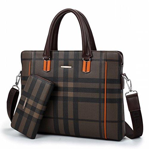 Preisvergleich Produktbild HTB Männer 'S Business Aktenkoffer Männer 'S Tragbare Computer Tasche Querschnitt Schulter Messenger Bag,Braun,14 Zoll
