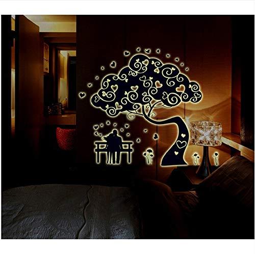 Shuyinju Große Vinyl Romantic Abstract Baum Wandaufkleber Wandaufkleber Glühen In Der Dunklen Familie Baum Wand Aufkleber Wohnkultur