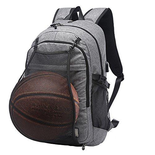 DOXUNGO Rucksack USB-Port Schultertasche Basketball-Tasche Herren Jungen Studenten für Studium Outdoor Sport Fitness Training Freizeit (ohne Basketball) Grau