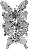 Deko Schmetterling mit Clip 3 Stück silber