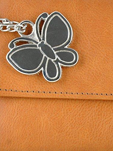 Butterflies porte-monnaie à la main dames fermeture magnétique occasionnel bourse d'embrayage marron