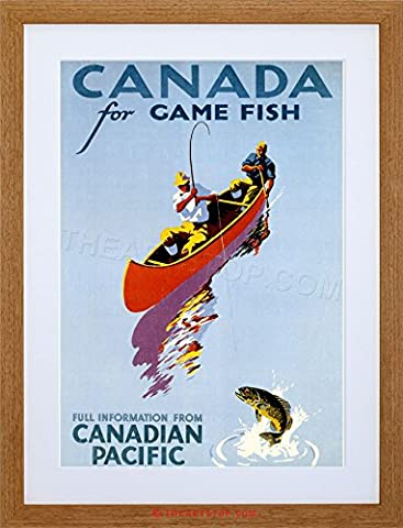 TRAVEL SPORT CANADA FISHING ANGLING CANOE GAME FISH FRAMED PRINT F97X6923