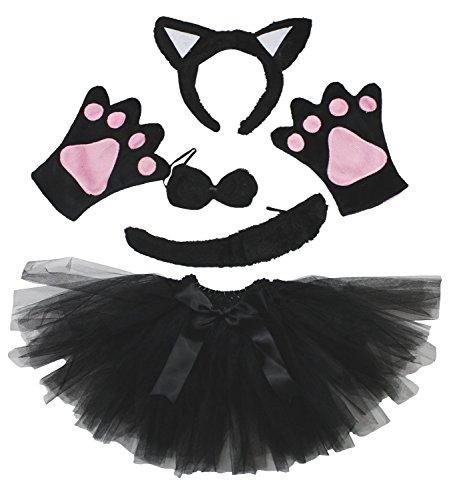 Cat Headband Bowtie Tail Gloves Black Tutu 5pc Girl Costume Dress for Party (Kind Tutu Black Cat Kostüm)