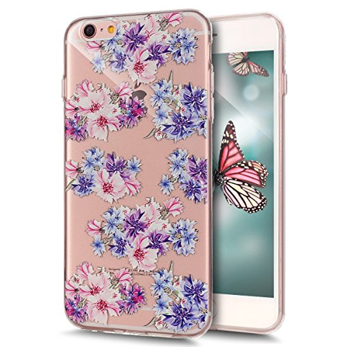 Coque iPhone 6S Plus, Étui iPhone 6 Plus, iPhone 6S Plus / iPhone 6 Plus Case, ikasus® Coque iPhone 6S Plus / iPhone 6 Plus Gaufrer Étui TPU coloré en couleur Silicone Étui Housse Téléphone Couverture Plein de fleurs