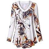 OverDose Damen Sommer Herbst Freizeit Oberteile Bluse Mode Frauen Split V-Ausschnitt 3/4 Roll-up Sleeve Button Tops Casual Blusen Shirts