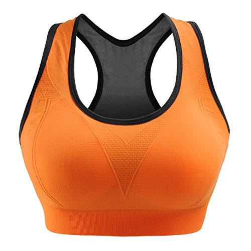 Libella Sport-BH Damen Bustier Gepolsterter Push Up Ohne Bügel Sport Bra Fitness Sporttop 3765 Orange L/XL (Geformt Seamless-bustier)