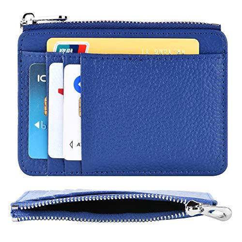 HoYiXi Kreditkartenetui mit RFID Blockier Echtem Leder Slim Portemonnaie Geldbeutel Herren und Dame Kartenhalter Schlankem Karten Brieftasche Karten Etui mit Reißverschluss -Blau - Slim Reißverschluss