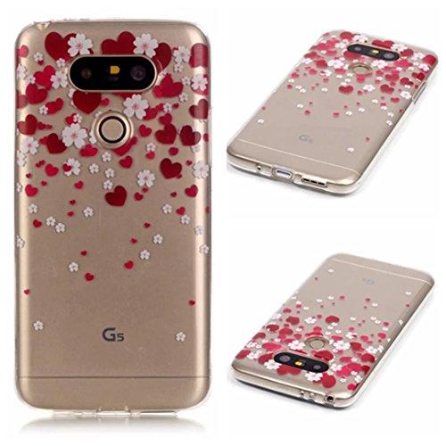 KSHOP Per LG G5 Custodia Conchiglia fit ultra sottile Silicone Morbido Flessibile TPU Custodia Case Cover Protettivo Skin Caso modello - Cuore Rosso