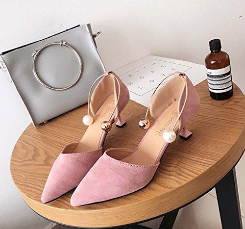 Damen Pumps Spitz Zehen Nubukleder Slip On Wein glase sohle Büro Elegant Modische Schuhe Pink