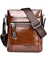 luzuzi Hombres de piel suave bolsa de hombro impermeable bolso bandolera maletín marrón lucky070