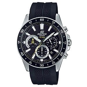 Casio EDIFICE Reloj en caja sólida de acero inoxidable, 10 BAR, Negro, para Hombre, con Correa de Resina, EFV-570P-1AVUEF