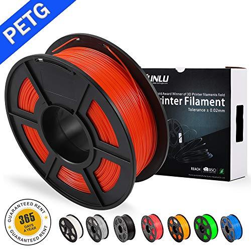 SUNLU PETG 3D filament 1.75mm 1KG(2.2lb), PETG 3D Printer Filament, Dimensional Accuracy +/- 0.02 mm, 1 kg Spool, 1.75 mm, Red PETG