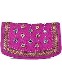 Womens Cottage Handmade Black Cotton Big Jali Patch Work Hand Purse for Womens/Girls
