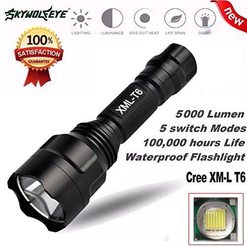 AmyGline LED Taschenlampe Taktische Taschenlampe 5000Lm Skywolfeye C8 XM L T6 LED 18650 Taschenlampe 5 Modi Taschenlampe Taktische Licht Lampe C8 Led