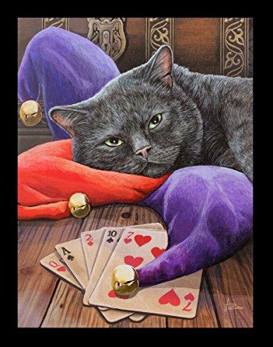 Kleines Leinwand Bild mit Katze | Jester by Lisa Parker | 25 x 19 cm Fantasy Deko Druck Poster (Katze Bilder)