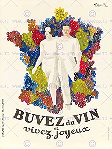 ADVERT DRINK ALCOHOL WINE LIVE HAPPY GRAPE MAP FRANCE ART PRINT POSTER AFFICHE 30X40 CM 12X16 IN BB7853B
