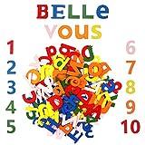 Lettere in Legno Piccole e Numeri in Legno Colorate (124pz) Set di Lettere Legno Maiuscole (A-Z), Lettere di Legno Minuscole (52 pz), 20 Numeri Legno (0-9) - Lettere Legno Bambini per Casa e Fai da Te