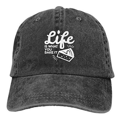 Presock Life is What You Bake It Cowboy Caps Unisex Adjustable Trucker Baseball Hat Black