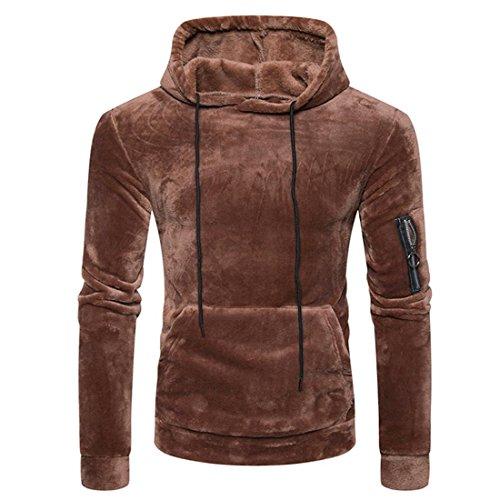 Preisvergleich Produktbild Herren Hooded Sweatshirt Btruely Herbst Winter Sport-Pullover Samt Mischung Männer Mit Kapuze Slim Kapuzenpullover Warm Outwear Retro Jacket (XL,  Kaffee)