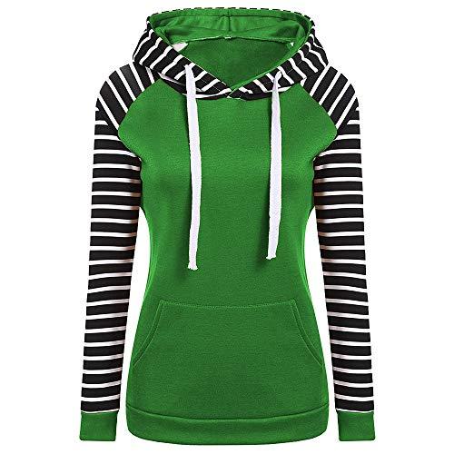 GreatestPAK Damen Langarm Streifen Nähen Fleece Kapuzenpullover Gelegenheitsspiele Farbblock Sweatshirt, ()