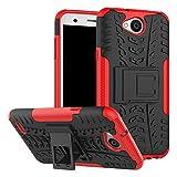 Sunrive Hülle Für LG X Power2, Tasche Schutzhülle Etui Case Cover Hybride Silikon Stoßfest Handyhülle Hüllen Zwei-Schichte Armor Design schlagfesten Ständer Slim Fall(rot)
