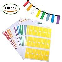 FJSM 480pcs Etiqueta de etiqueta adhesiva multiusos para clasificar o identificar el cable, combinar con impresora láser o marcador permanente, 8 colores, A4