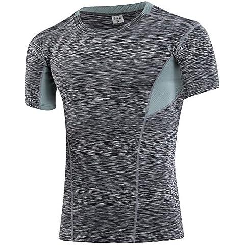 hibote per l'uomo sportivo a maniche corte allenamento fitness in esecuzione aderente maglietta traspirante T (Problema Nero Tee)
