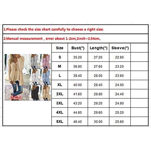 Yuxin Manica Lunga Camicetta per Donna - Moda Tinta Unita Camicia Elegante Scollo a V Primavera e Autunno Casual Shirts Tops Cachi