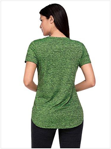 Sexy Manches Courtes Criss Cross Strap Bretelles Ajourée Lacé Lacets Laçage Shoulder Ourlet Incurvé T-Shirt Tee Haut Top Vert