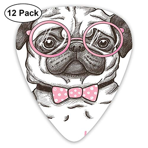 Guitar Picks12pcs Plectrum (0.46mm-0.96mm), Cute Pet Dog With Pink Bow Tie Oversized Glasses Hand Drawn Domesticated,For Your Guitar or Ukulele