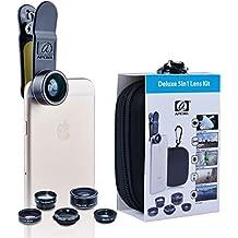 Apexel–5en 1kit de lente de cámara HD 198° Lente Ojo de Pez + 0,63x gran angular + 15x Lente Macro + Teleobjetivo 2x Lente + CPL lente para la mayoría de Smartphone