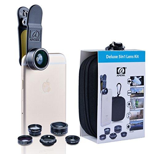 APEXEL Deluxe 5 in 1 Clip On iphone objektiv, Kamera-Objektiv-Kit 198 ° Fischaugenlinse, 2in1 Weitwinkelobjektiv & Makroobjektiv, CPL Objektiv, 2x Zoom Teleobjektiv für iPhone, Samsung, Sony, Huawei und das meiste Smartphone