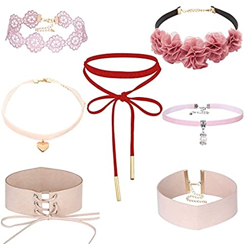 Tpocean 7 PCS Pink Lace Choker Necklace Set Gothic Floral Tattoo Thick Choker Necklace for Women Girls 90s Love Heart Pearl Pendant Charms